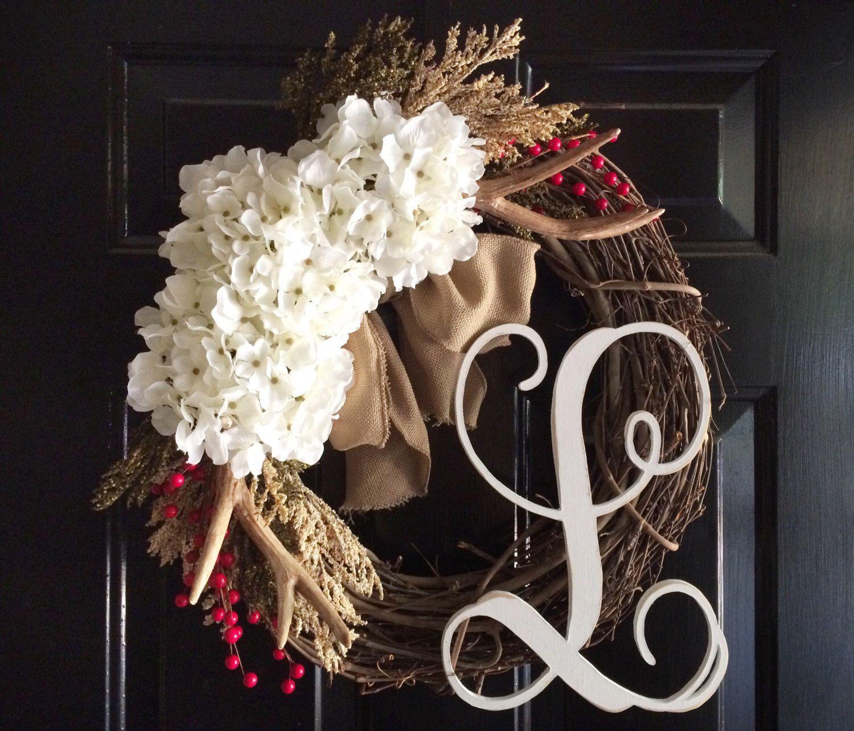 Front door wreath spring wreath monogram wreath for Antler christmas wreath