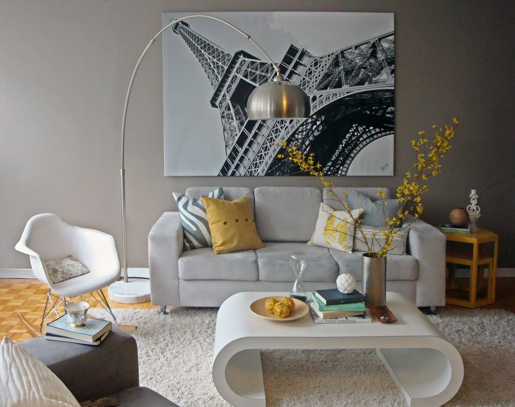 Yellow And Grey Living Room Eiffel Tower Paris Wall Decoration Ideas