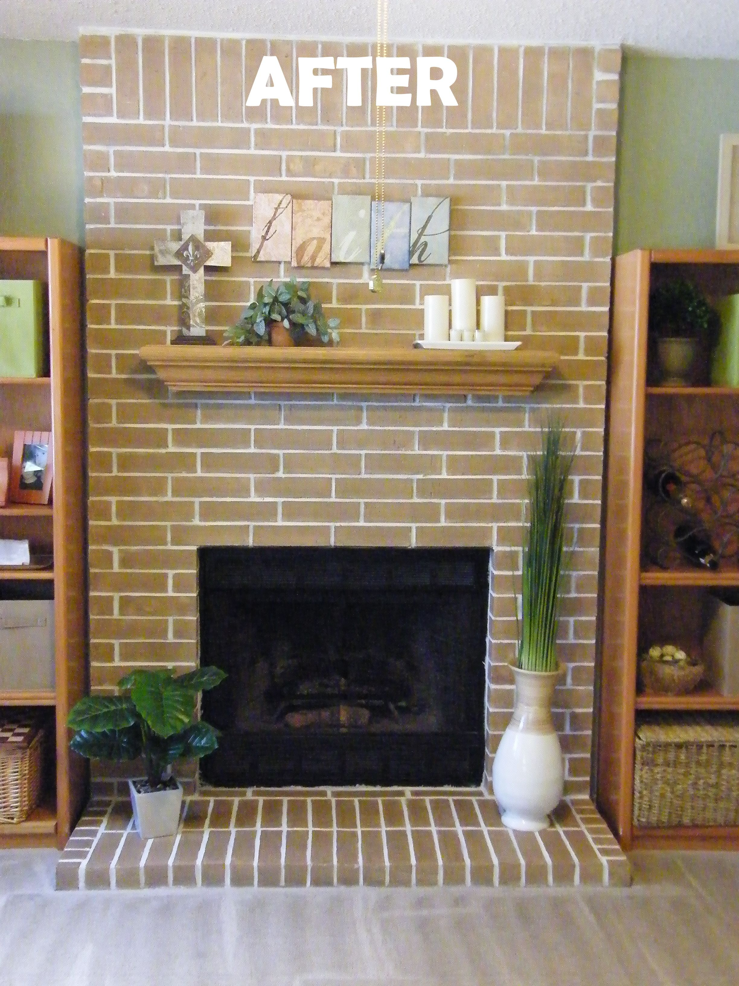 Easy Fireplace Makeover Concrete Stain Got Rid Of My Ugly Red Brick 1 White Washed And Grout 2 Rolled On Behr Water Based