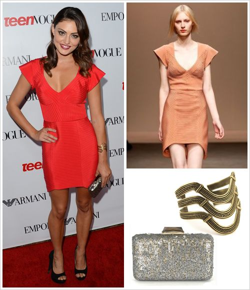 Phoebe Tonkin attended Teen Vogues 10th Anniversary Young Hollywood Party on Thursday in Beverly Hills wearing a Yeojin Bae dress from the Premiere 11 collection, a Kotur Espey sequin minaudiere ($495) and a Nissa triple cuff in Antique Gold ($184)