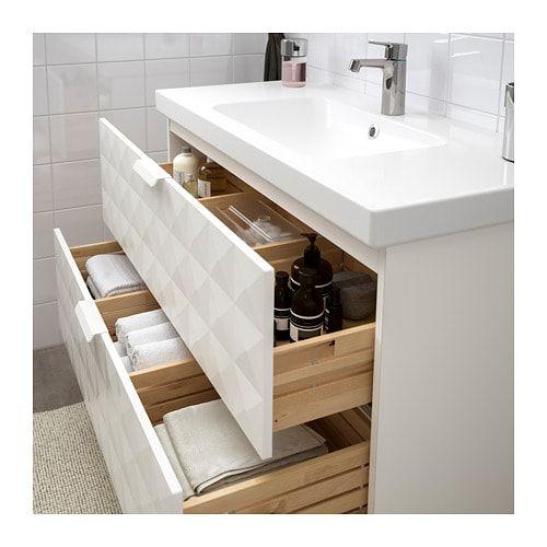 GODMORGON / ODENSVIK Meuble pour lavabo, 2 tiroirs, Resjön blanc