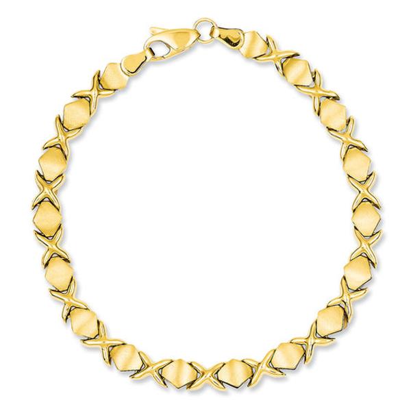 Womens 14K Gold Hugs /& Kisses Necklace Bracelet Earring Set Stainless Steel