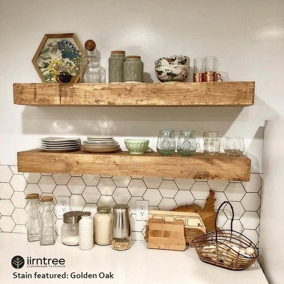 Wood Floating Shelves 3 Inches Thick 10 Inch Deep Rustic Etsy In 2020 Wood Floating Shelves Rustic Shelves Floating Shelves