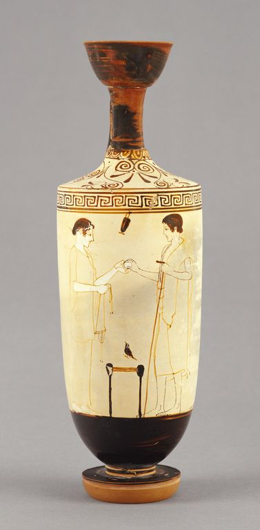 Attic White Ground Lekythos Attributed To The Painter Of Athens 1826 Greek Attic Active About 460 Greek Pottery Ancient Greek Pottery Ancient Greek Art