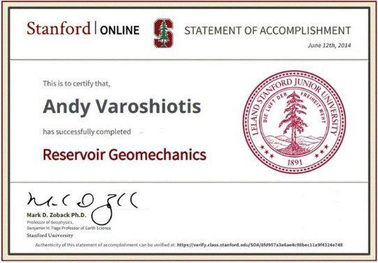 Stanford University Reservoir Geomechanics Certificate   Andy ...