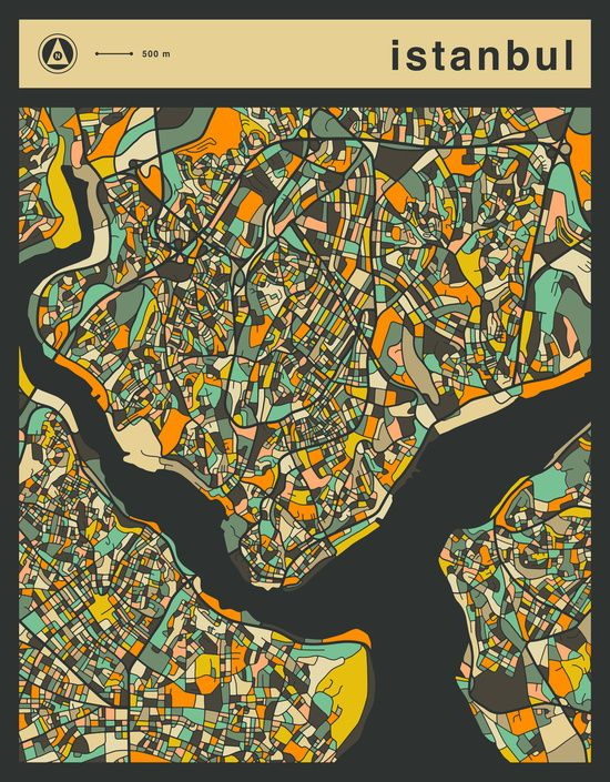 Poster   ISTANBUL MAP von Jazzberry Blue   more posters at http ...