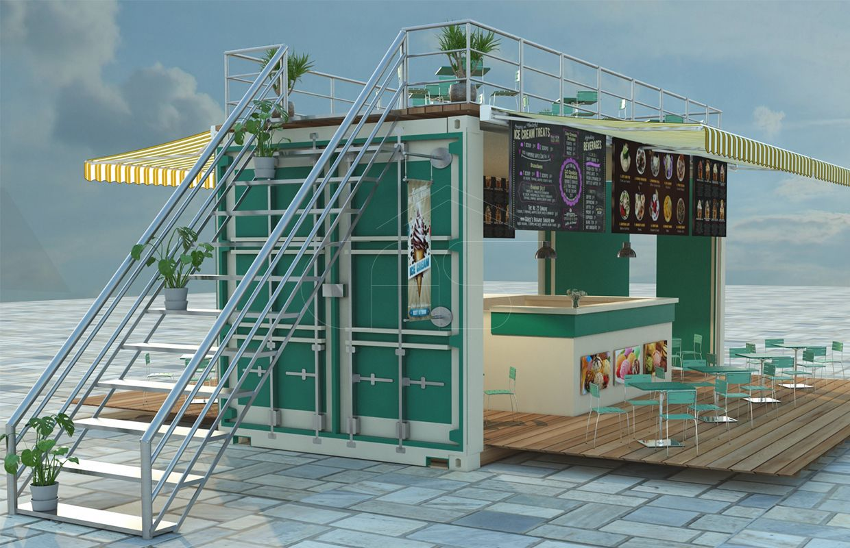 converted shipping container ice cream shop - Seecontainerhuser Wa