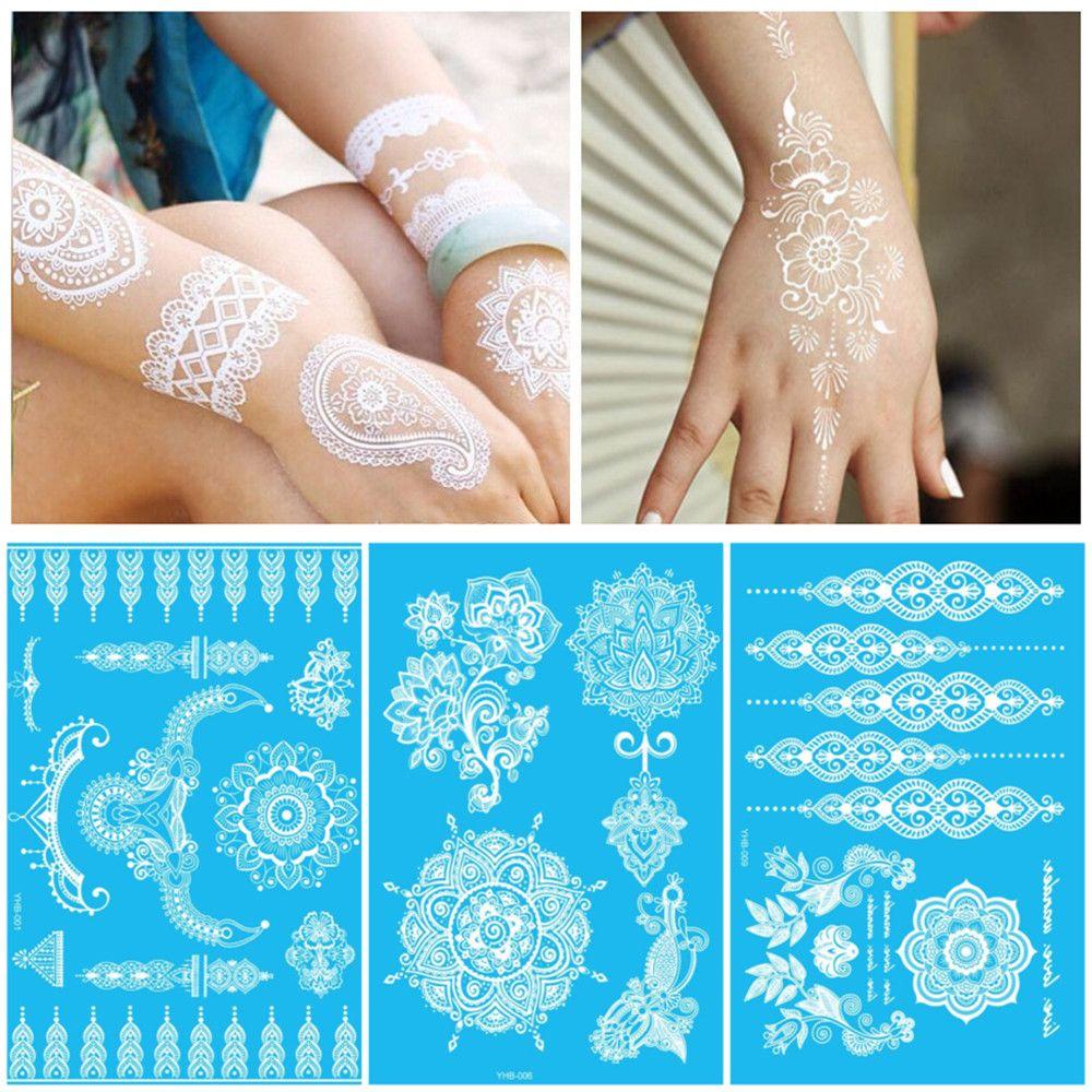 Wit Tijdelijke Flash Tattoo Geïnspireerd Sticker Henna Kant Inkt Mode Body Art Water Transfer Gezicht Lichaam Schilderen Decals Stickers