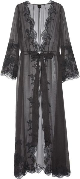 Carine Gilson Laceappliquéd Silkmousseline Robe in Gray - Lyst