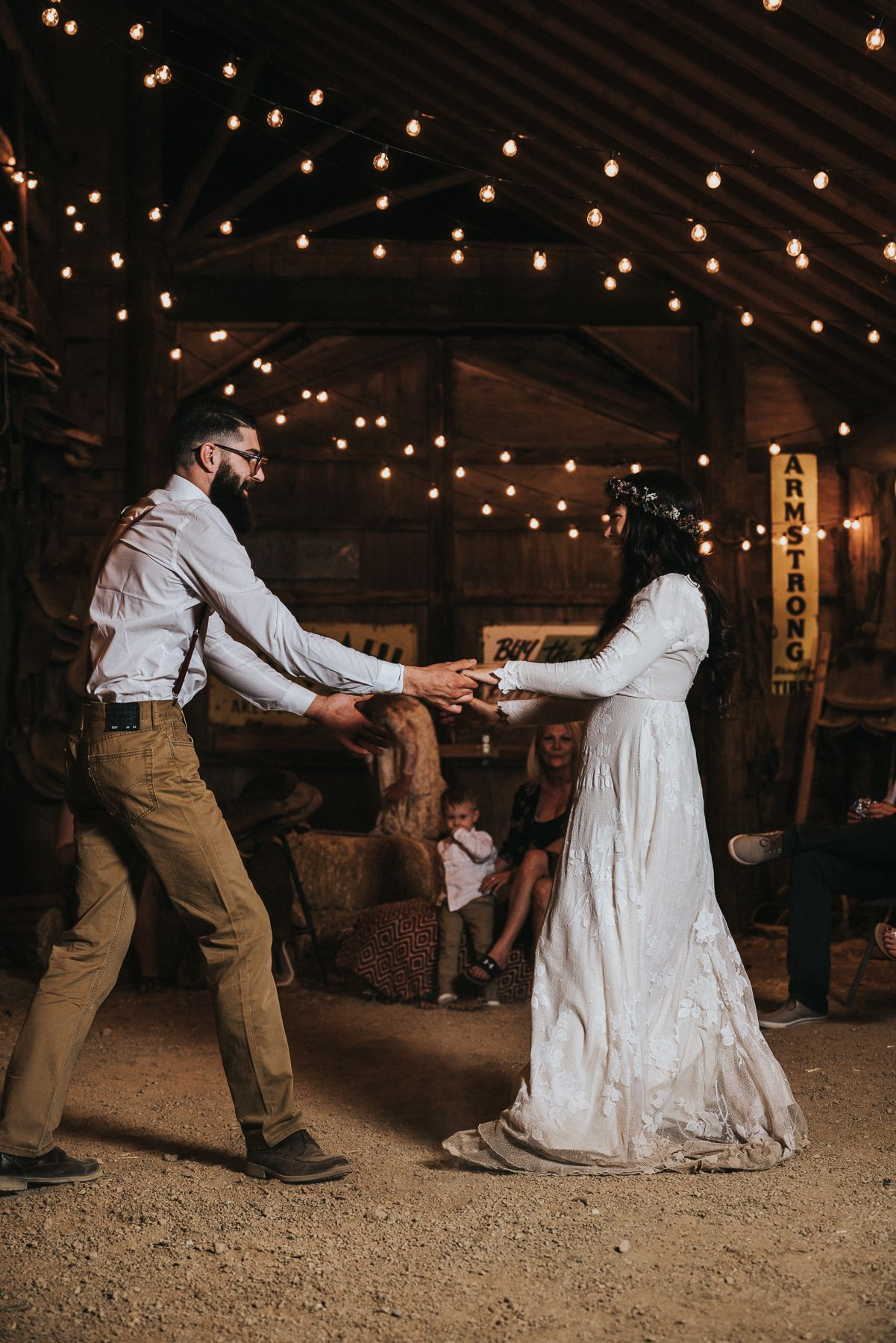 Boho ghost town wedding in nelson nv first dance rustic barn