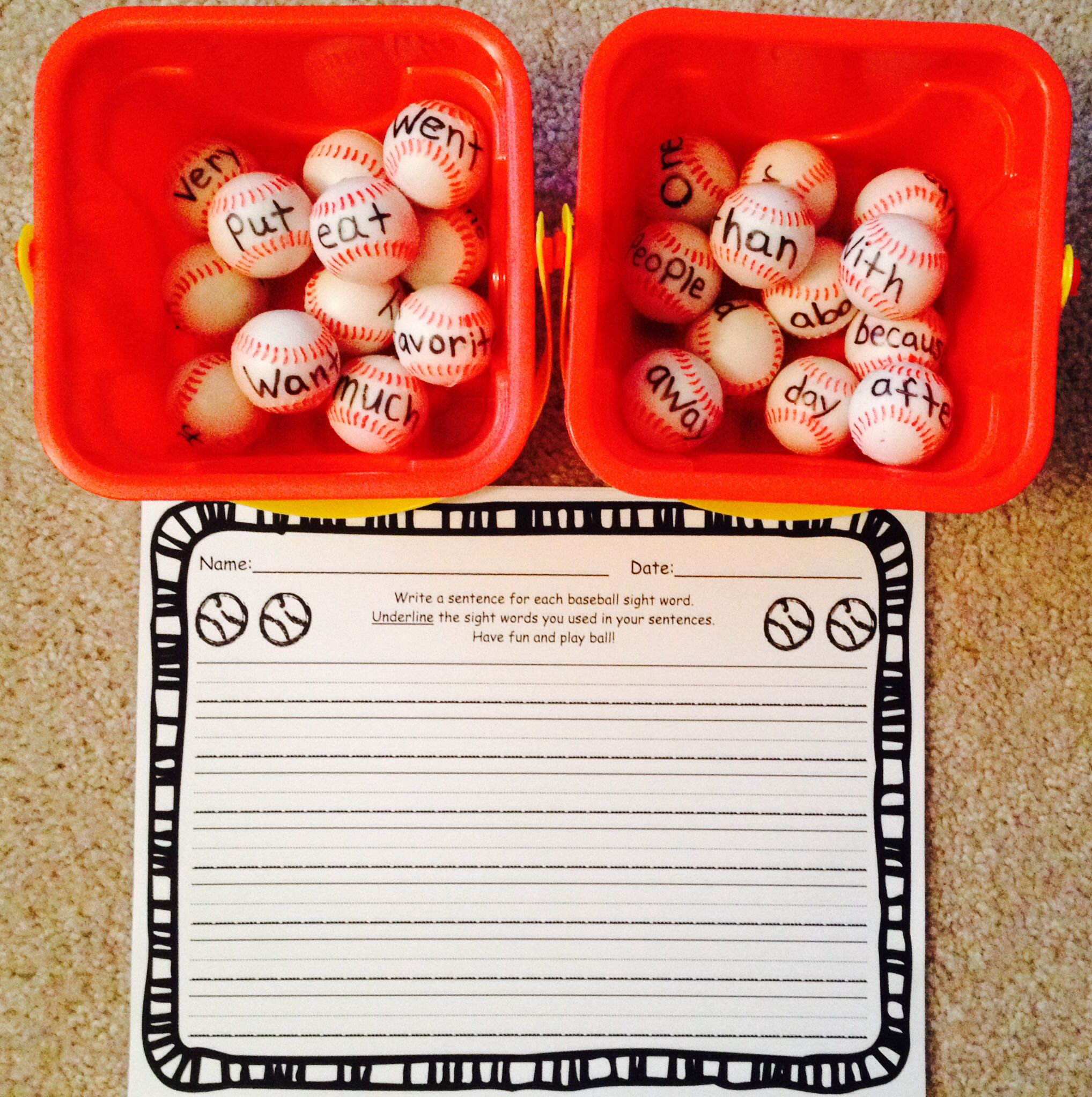 Kindergarten Sight Words On Baseballs With Writing