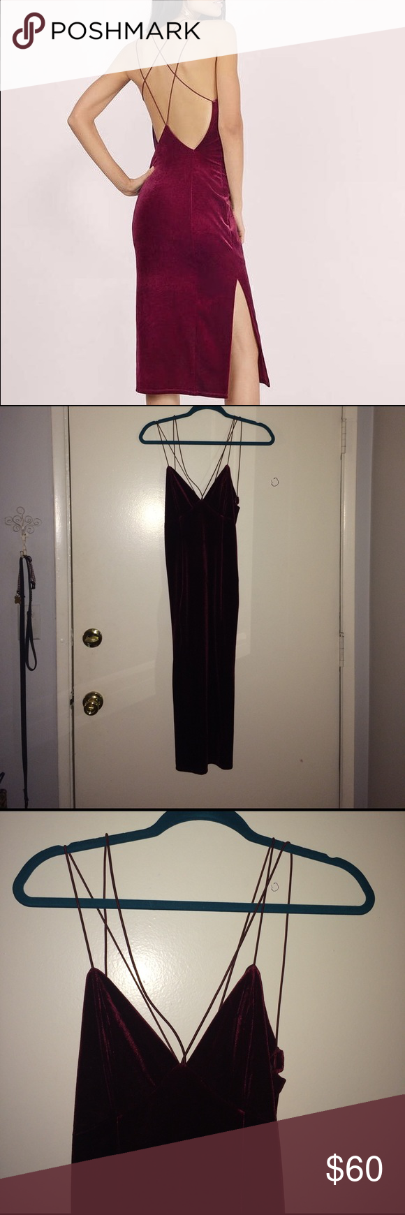 Sexy Red Velvet Dress Super cute! Double strap red velvet dress! Only tried on never worn!  Just haven't had anything to wear it too! Tobi Dresses Midi