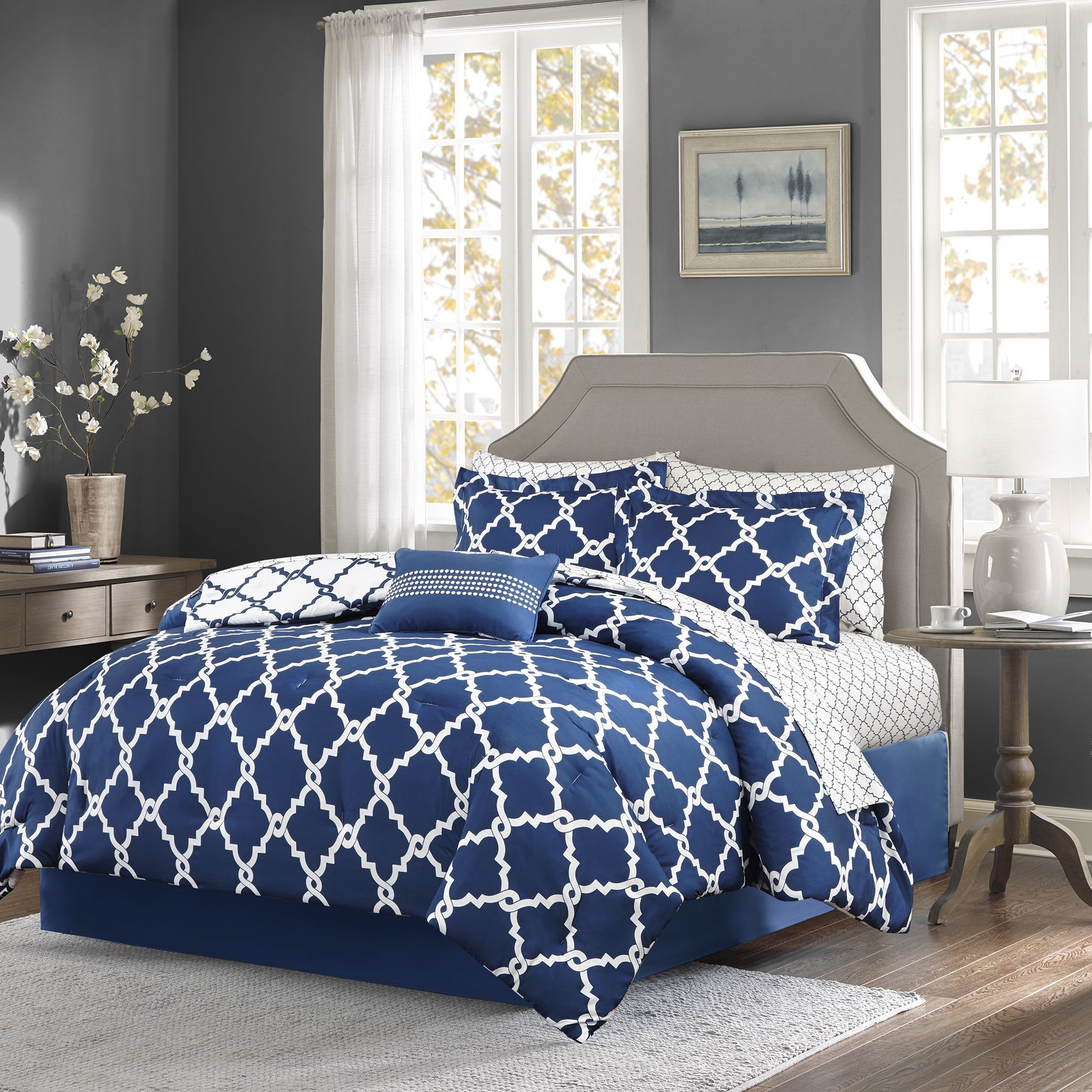 Madison Park Essentials Reversible Cole 9-piece Comforter Set ...