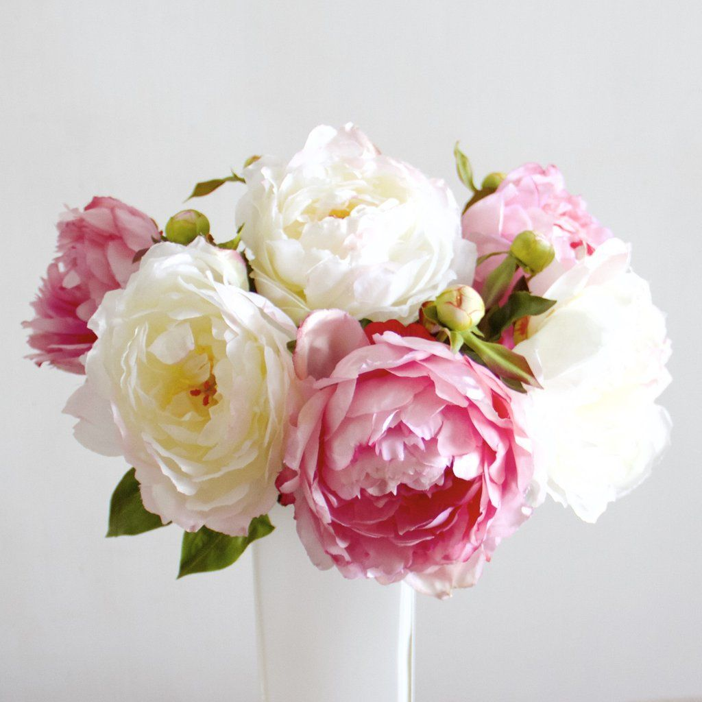 Pink Classic Peony Bunch Of 6 Stems Pinterest Faux Flowers And