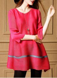 Fashionable Scoop Neck 3/4 Sleeve Loose-Fitting T-Shirt Dress For Women