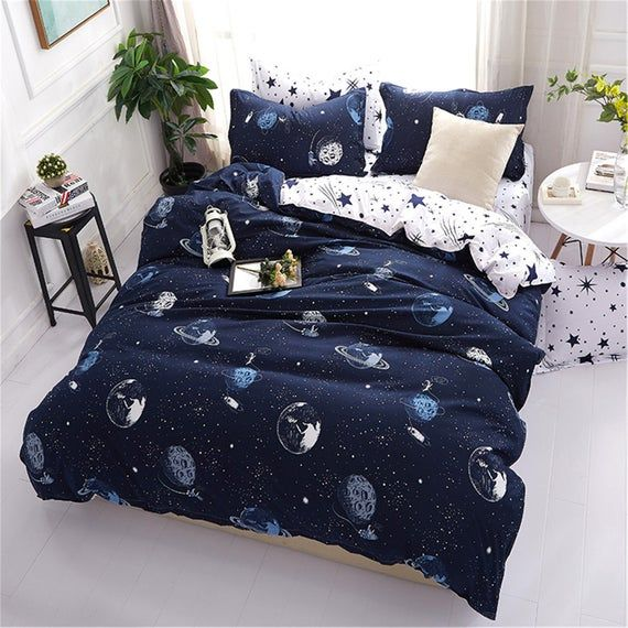 High Quality Simplicity Microfiber Duvet Cover Blue Bedding Etsy In 2021 Bed Linens Luxury Space Bedding Bed Styling