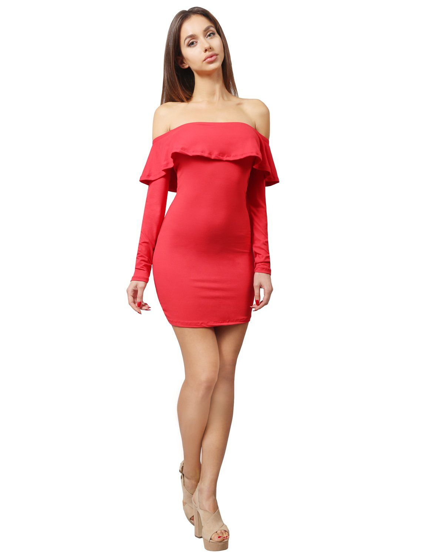 Ne People Women S Bodycon Off Shoulder Short Long Sleeved Ruffled Dress Dresses Off Shoulder Women [ 1500 x 1150 Pixel ]