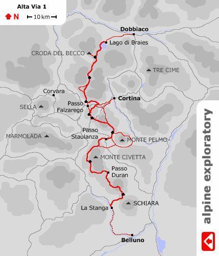Map showing the route of Alpine Exploratorys Alta Via 1 walking