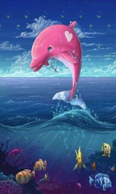 Cute Dolphins Blingee Tim Với Google Dolphin Art Pink Dolphin Pink Dolphin Wallpaper