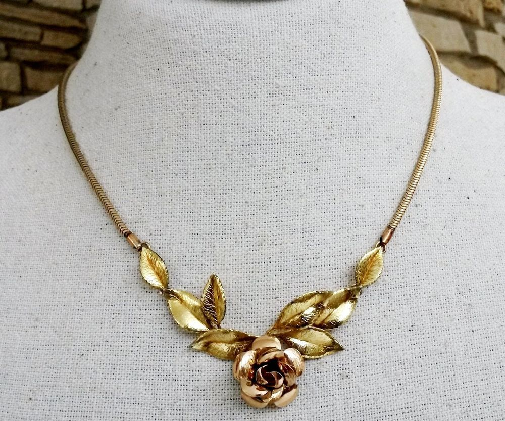 e1c9e2526a635 Vintage Krementz Rose Necklace Choker Rose and Yellow Gold Overlay ...
