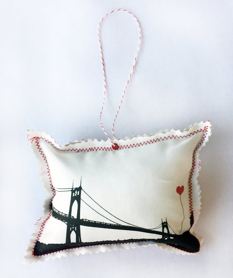 St John S Bridge Portland Oregon Fabric Ornament Fabric