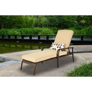 Cadence wicker chaise lounge tan lake shore house for Better homes and gardens chaise lounge