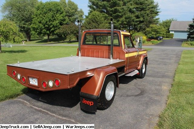 1980 Antique Jeep J10 Flatbed Custom For Sale Now At Jeeptruck Com Custom Wood Interior Oversized Wheels Tires Used Jeep Jeep Parts For Sale Jeep