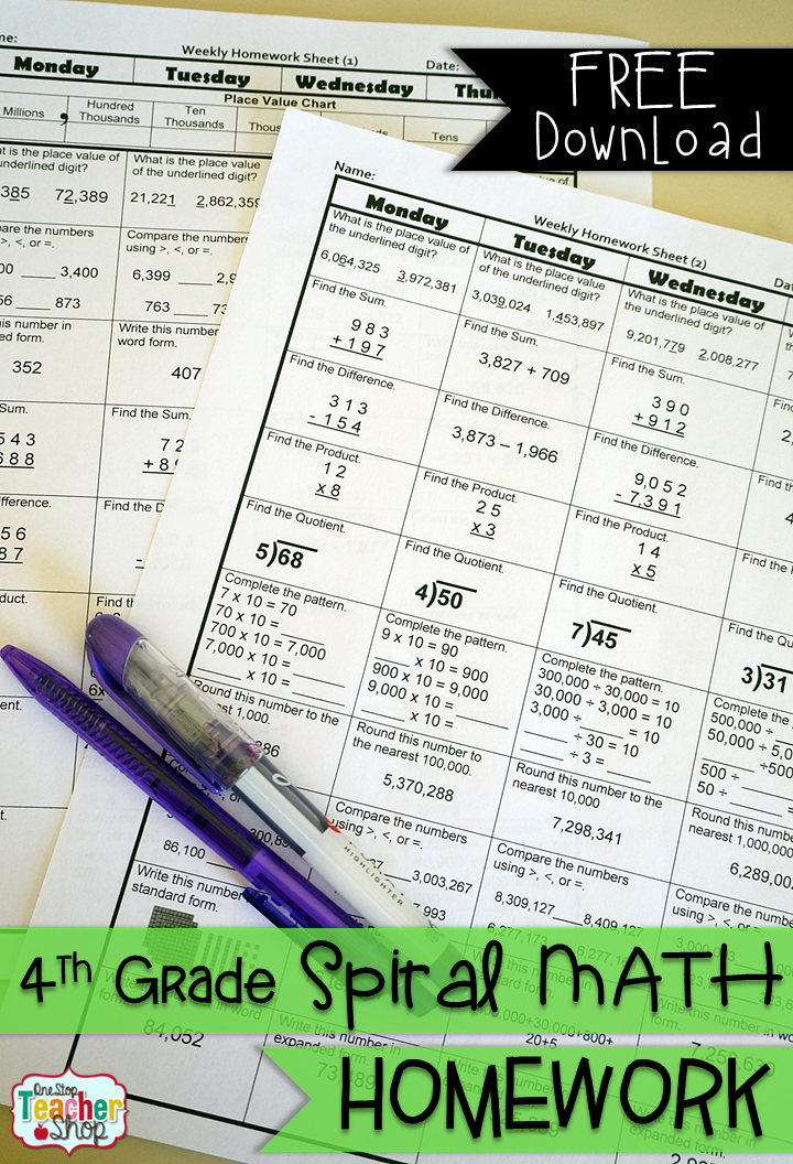 FREE Spiral Math Homework for 4th Grade! {Common Core} 2 Weeks FREE ...