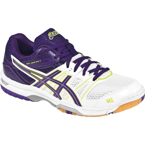 ASICS Women's B455N Gel-Rocket 7 in White/Lavender/Purple