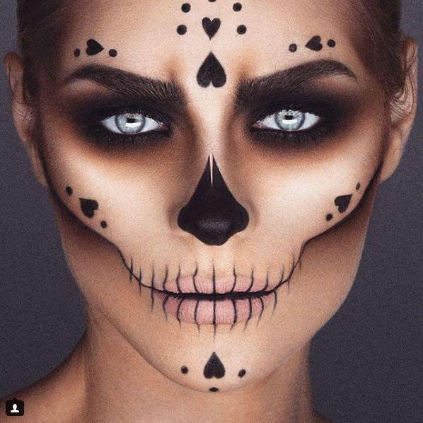 einfaches Zuckerschädel Make-up – Schönheit