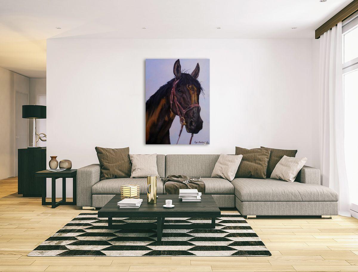 Interior decor inspiration brown horse portrait equine art