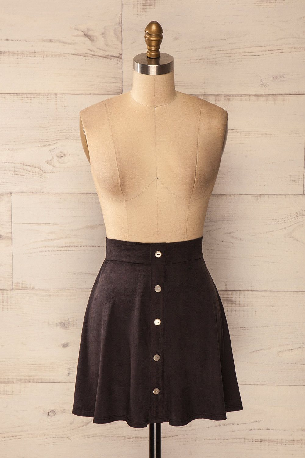 Bely Space - Black faux-suede mini skirt