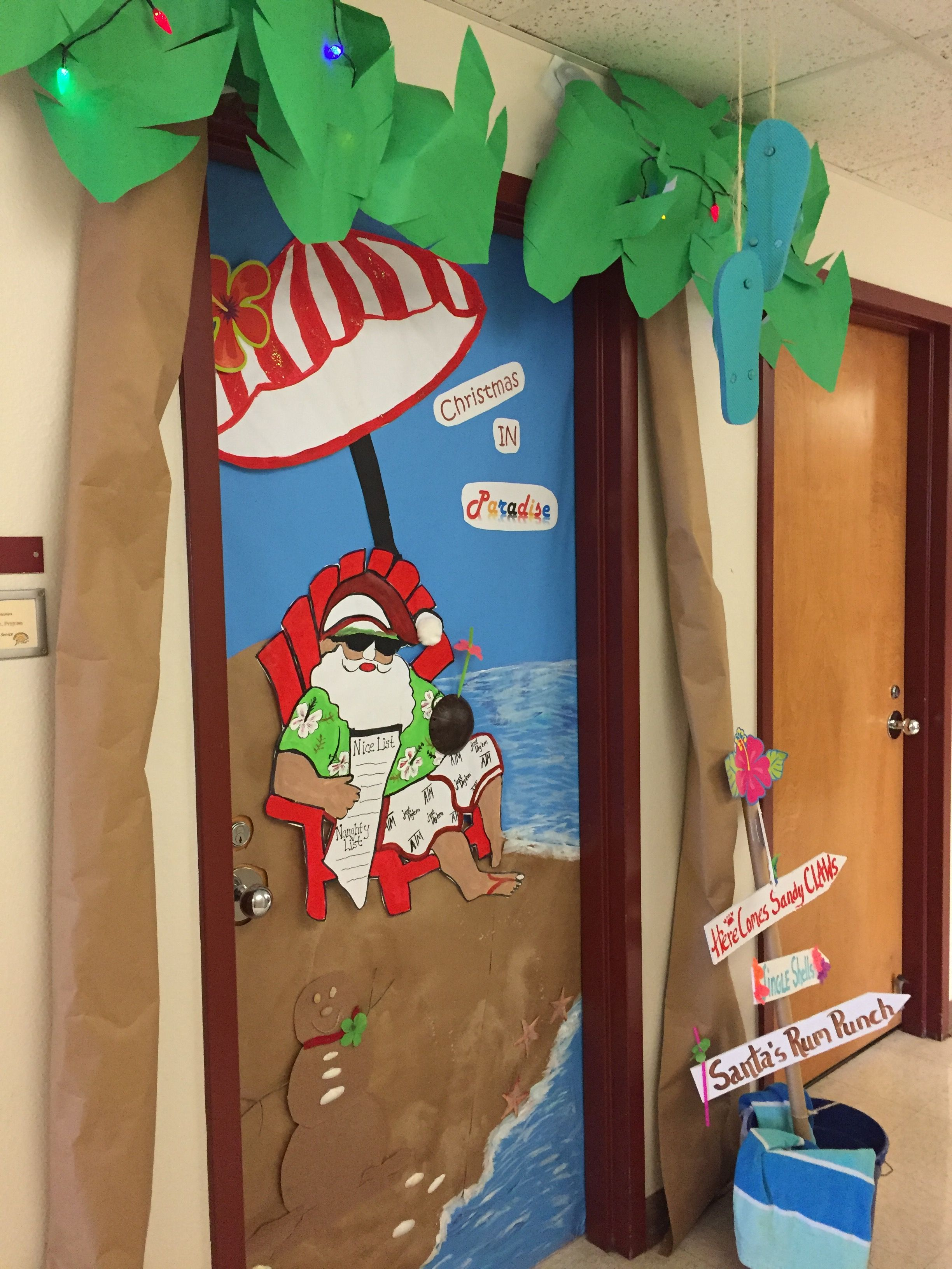 Holiday Door Decoration Tropical Santa Door Decorations