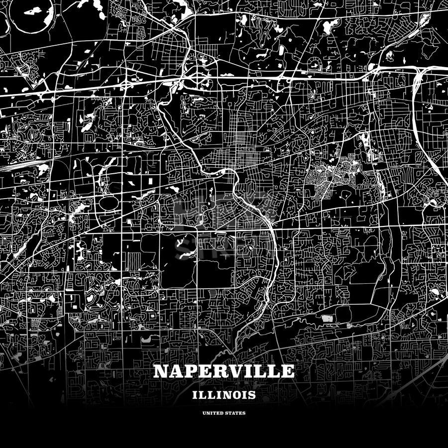 Black map poster template of Naperville, Illinois, USA   Streit