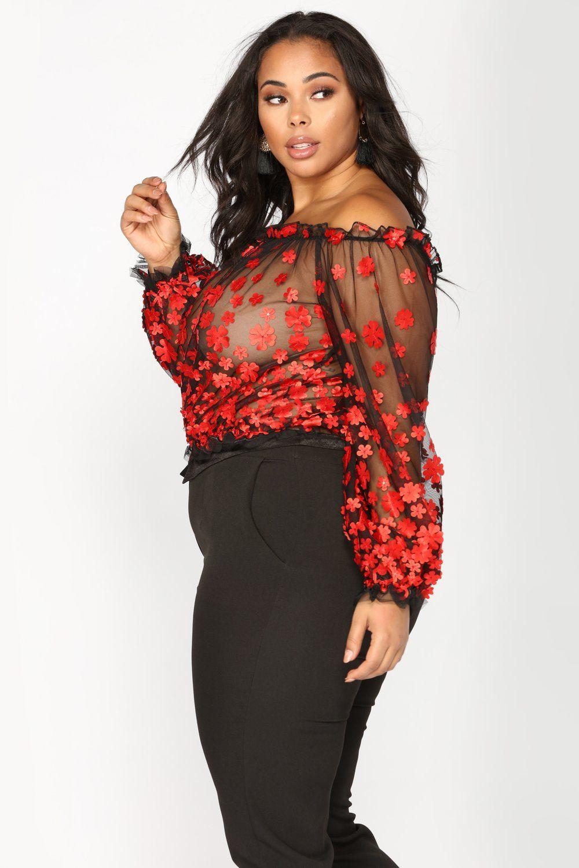 03333a3cec6d77 Tessa Off Shoulder Embroidered Mesh Top - Black Red