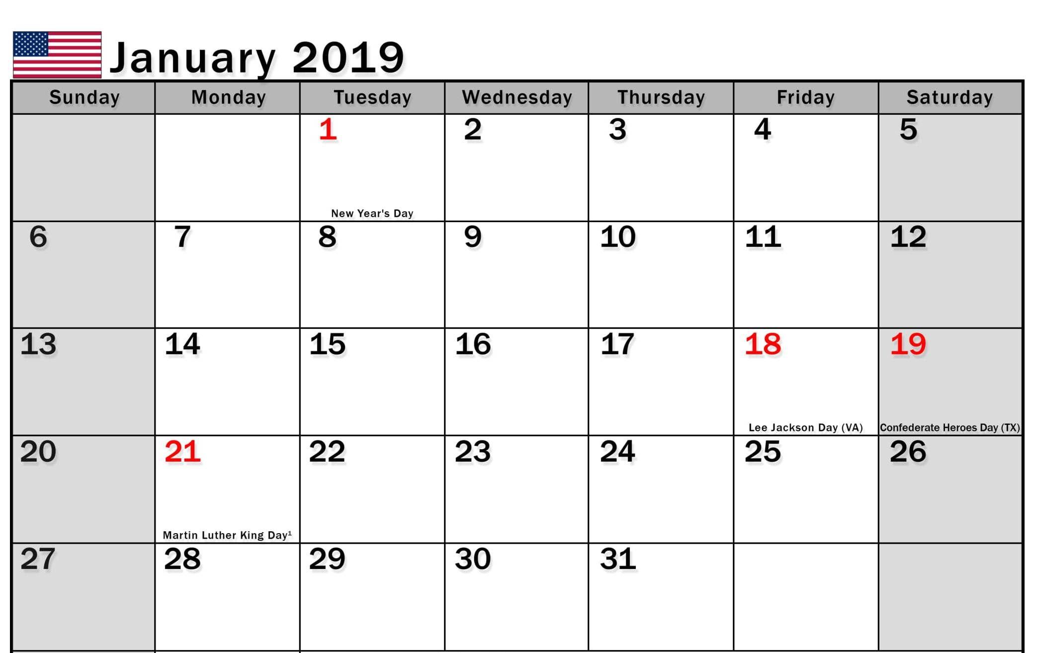 January 2019 Calendar Us Printable Templates With Holidays 2019