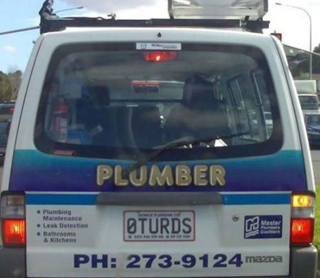 Perfect License Plate For A Plumber Funnylicenseplates - Decals for trucks customizednailed it plumbers custom car decal that makes him look like