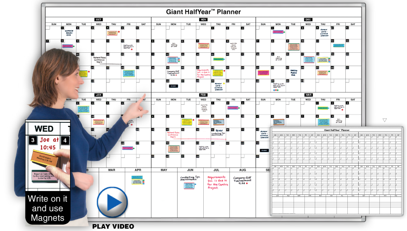 Giant Halfyear 6 Month Daily Planning Calendar Magnetic Dry Erase