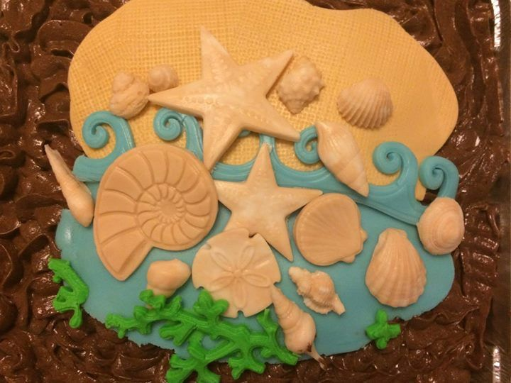 Beach Cake Topper Fondant Sea Shell Cake Topper Edible Beach