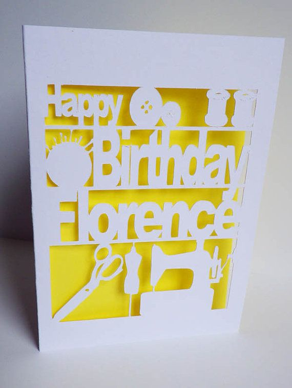 Personalised Birthday Card Seamstress Cut Out By FruteJuce 600