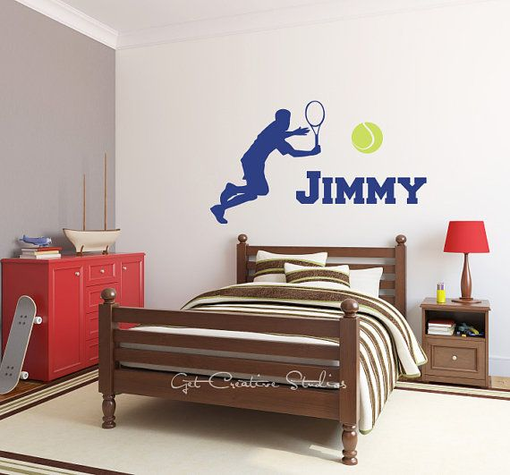 Tennis Decal Player Decal Tennis Wall Decal Tennis Ball Decal Tennis Wall Decor Player Wall Decal Boys Tennis Decal Tennis Name Decal Sports Pick your own ... & Tennis Decal Player Wall Sticker Custom Name Serve Volley Boy Racket ...