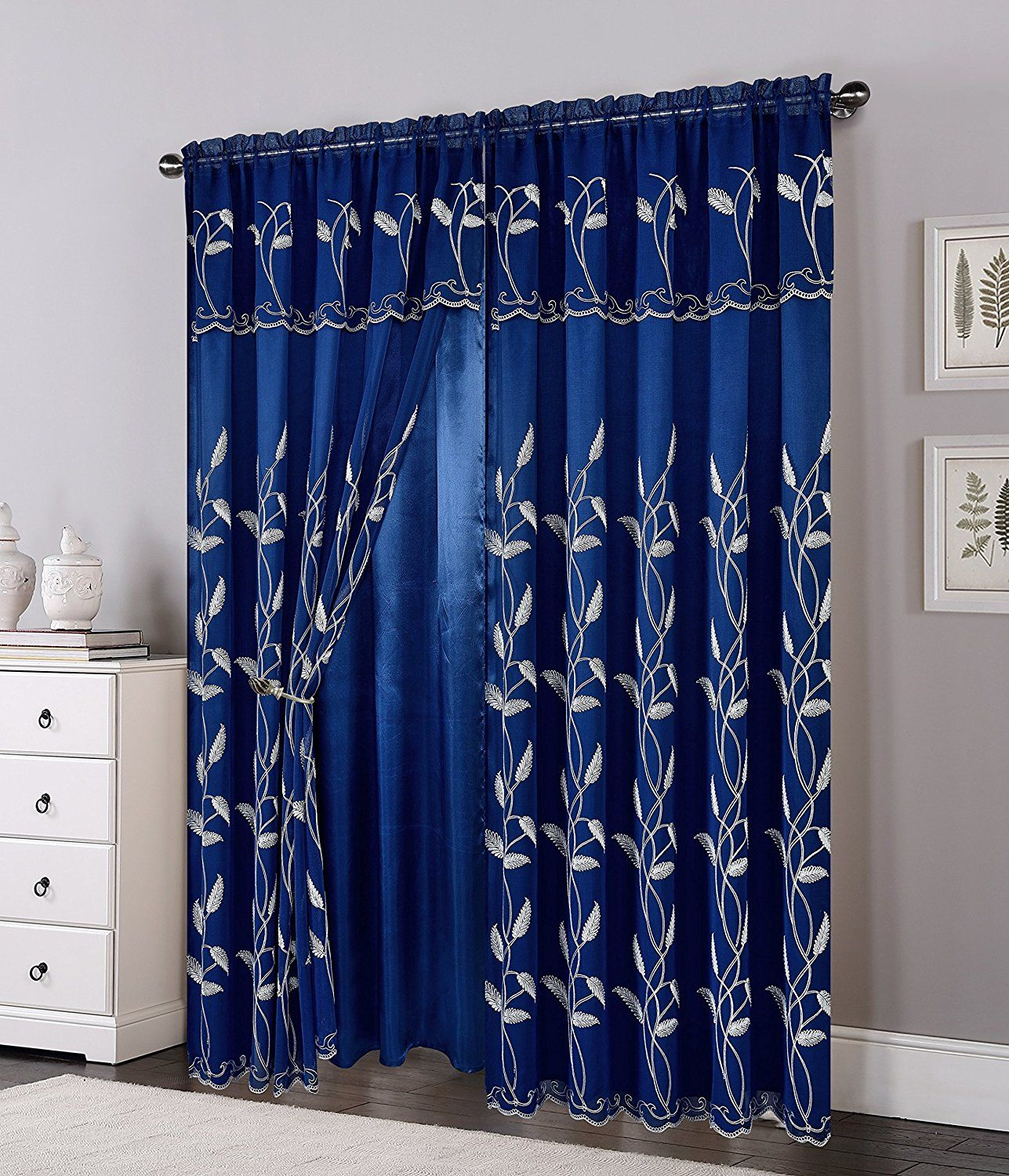 Amazon Com Elegant Comfort Luxurious Beautiful Curtain Panel Set With Attached Valance And Backing 54 X 84 In Luxury Curtains Cool Curtains Colorful Curtains