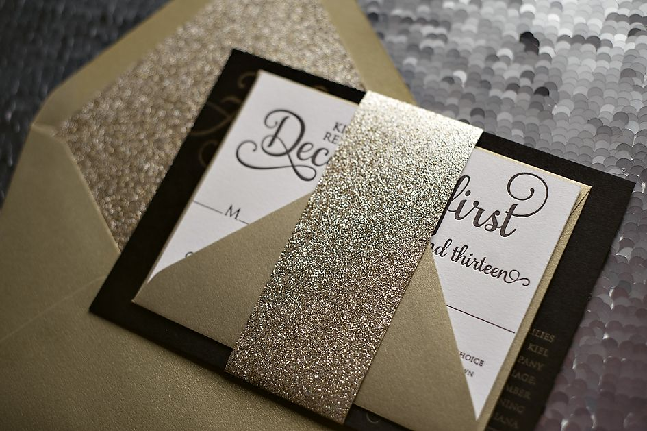 Black And Gold, Black Tie Wedding Invitation, High End Wedding Invitations,  Glitter Wedding