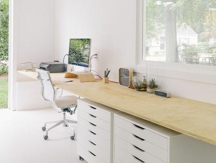 Aménager un bureau en longueur bureau peinture blanc longueur