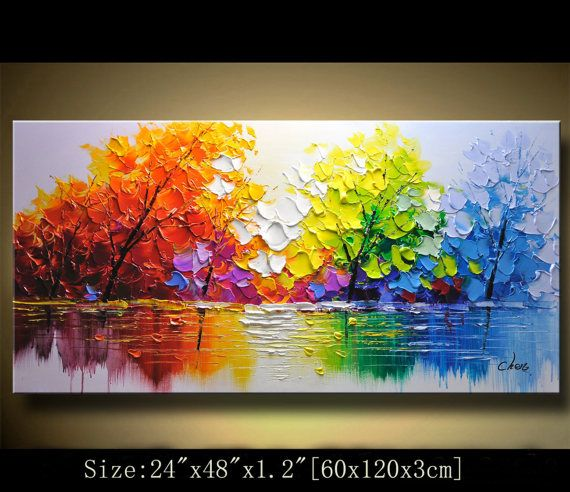 Contemporary Wall Art Palette Knife Painting Colorful Landscape Painting Wall Decor Home Decor Acrylic Textured Painting On Canvas Chen 1313 Texture Painting On Canvas Texture Painting Oil Painting On Canvas