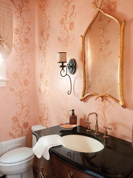 This Pretty Pink Powder Room Is Adorned With A Custom Metallic Fl Pattern Creating An Elegant And Feminine E To Clean Up