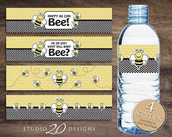 Instant Download Bee Water Bottle Labels Printable Baby Shower - Small water bottle label template