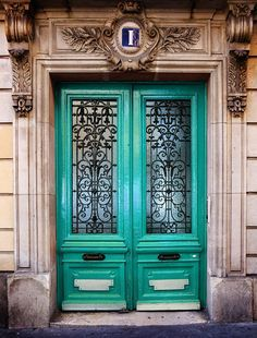 Paris Photography - French Turquoise Blue Door photo number one - Montmartre Paris - France Architecture & baroque doors - Google Search   doors to adore   Pinterest