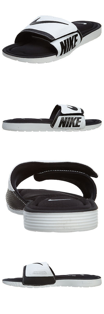b1f9cf741d3ca ... discount sandals and flip flops 11504 nike solarsoft comfort mens  705513 010 white black logo slide