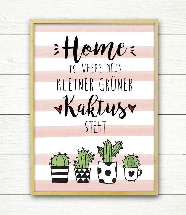 mein kleiner gr ner kaktus originaldruck geschenke f r. Black Bedroom Furniture Sets. Home Design Ideas